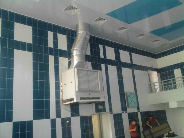 Монтаж канального осушителя в школьном бассейне