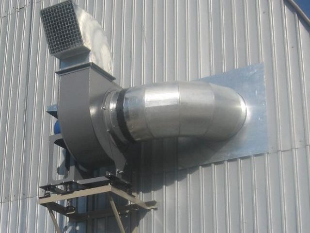 Монтаж центробежного вентилятора на профнастил при помощи сварной конструкции