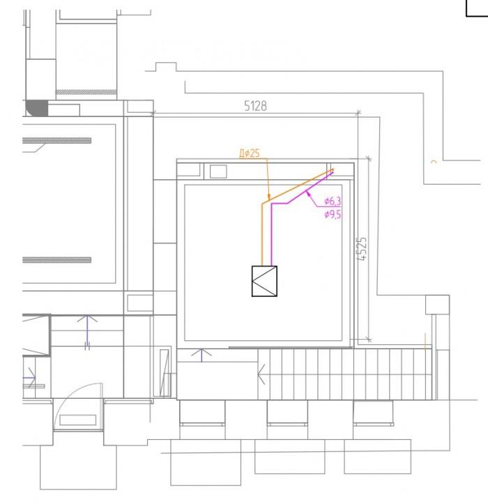 прокладка фреоновых трасс и дренажей 1й этаж