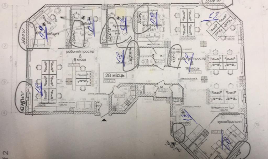 (на чертежах часть офисов, на другую половину планов не было)